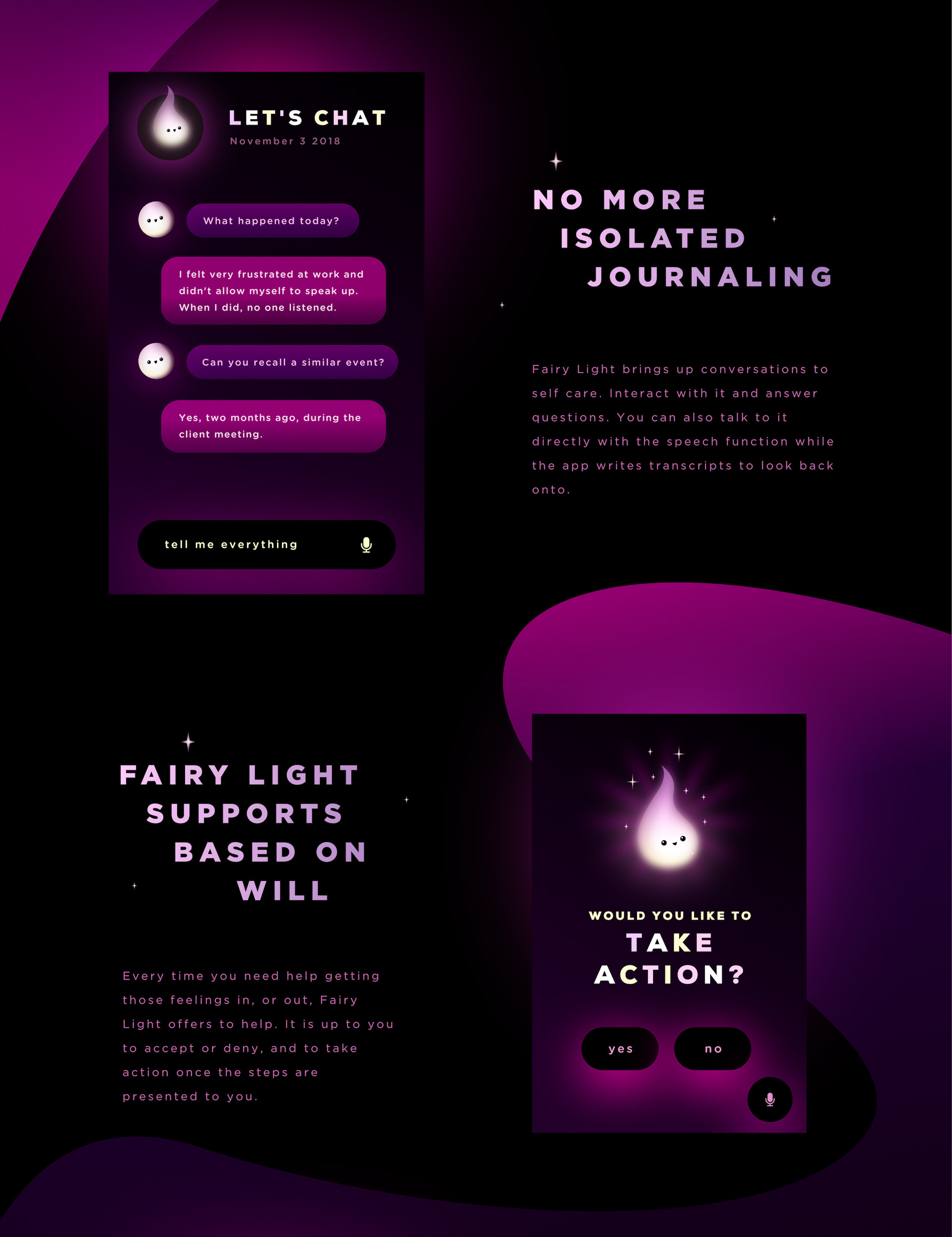 Fairy Light is a concept app by Meg Wehrlen using machine learning + AI to contribute to the user self development and mental health, Like a coach, in an app, with diary history | Meg Wehrlen