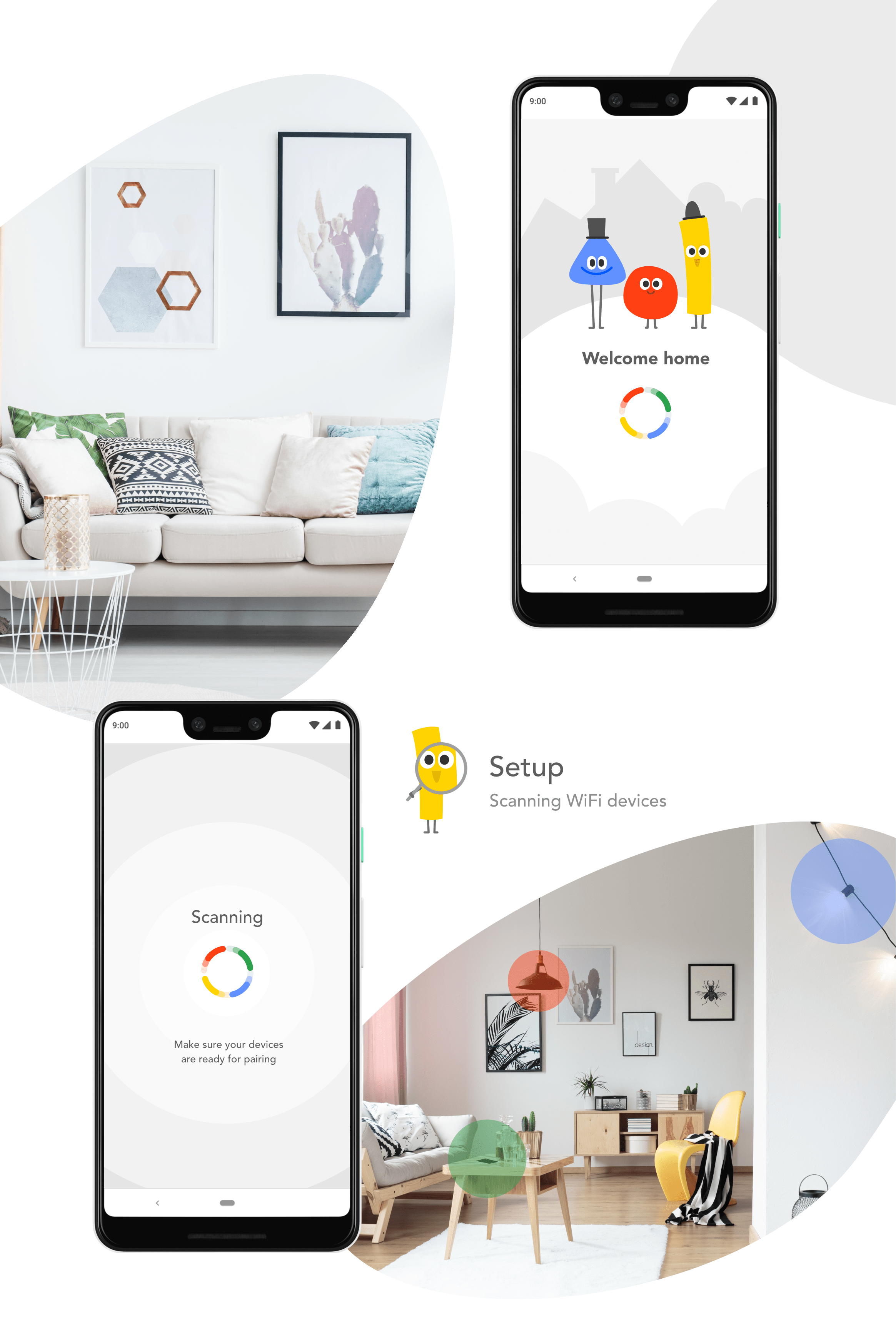 Google home assistant extension by Meg Wehrlen. UIUX page including screens, wireframe, userflow. Screens for loading, scanning, user settings, grouping, commands,overlays, screen control