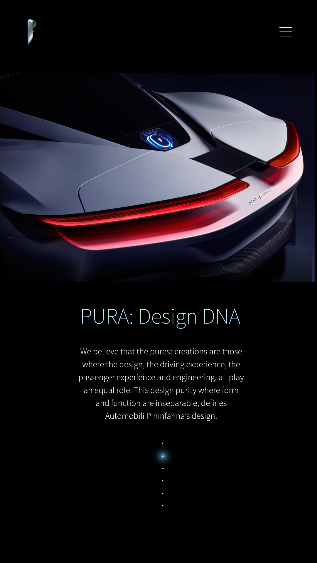 Automobili Pininfarina is a high-performance sports car and luxury electric vehicle manufacturer. Art direction, branding, uiux, web, landing pages, media management, front end development, website design for Battista previously known as PF0. Meg Wehrlen