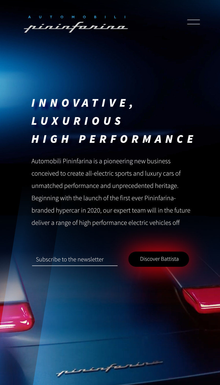 Automobili Pininfarina is a high-performance sports car and luxury electric vehicle manufacturer. Art direction, branding, uiux, web, landing pages, media management, front end development, website design. Meg Wehrlen