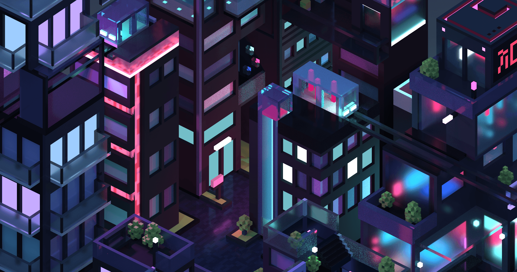3D isometric city by night by Meg Wehrlen showing a square based city of high rise building with a synthwave/vapowave feel. Software is MagicaVoxel, 3d illustration.