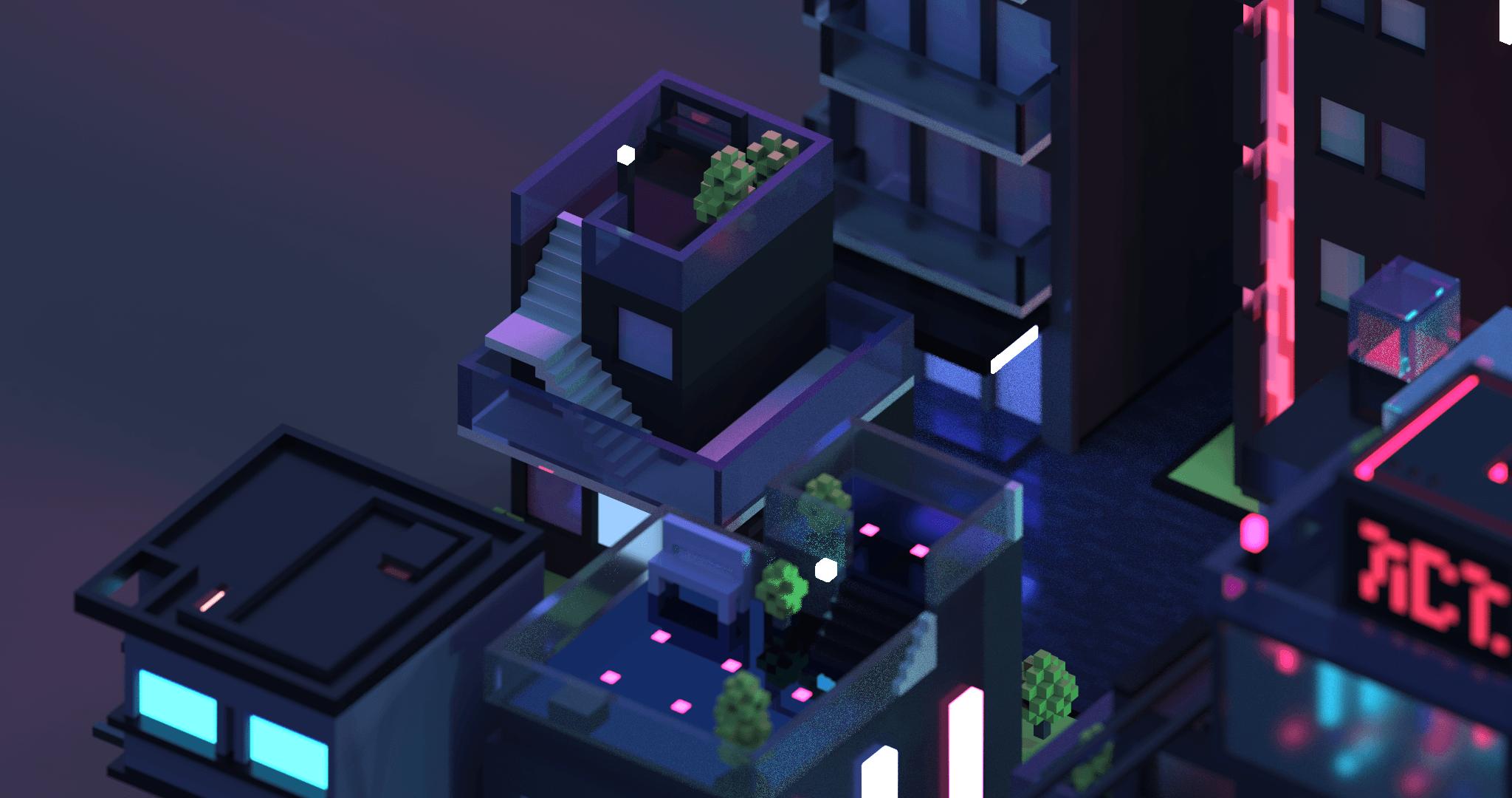 Neon City – 3D isometric voxel | Meg Wehrlen