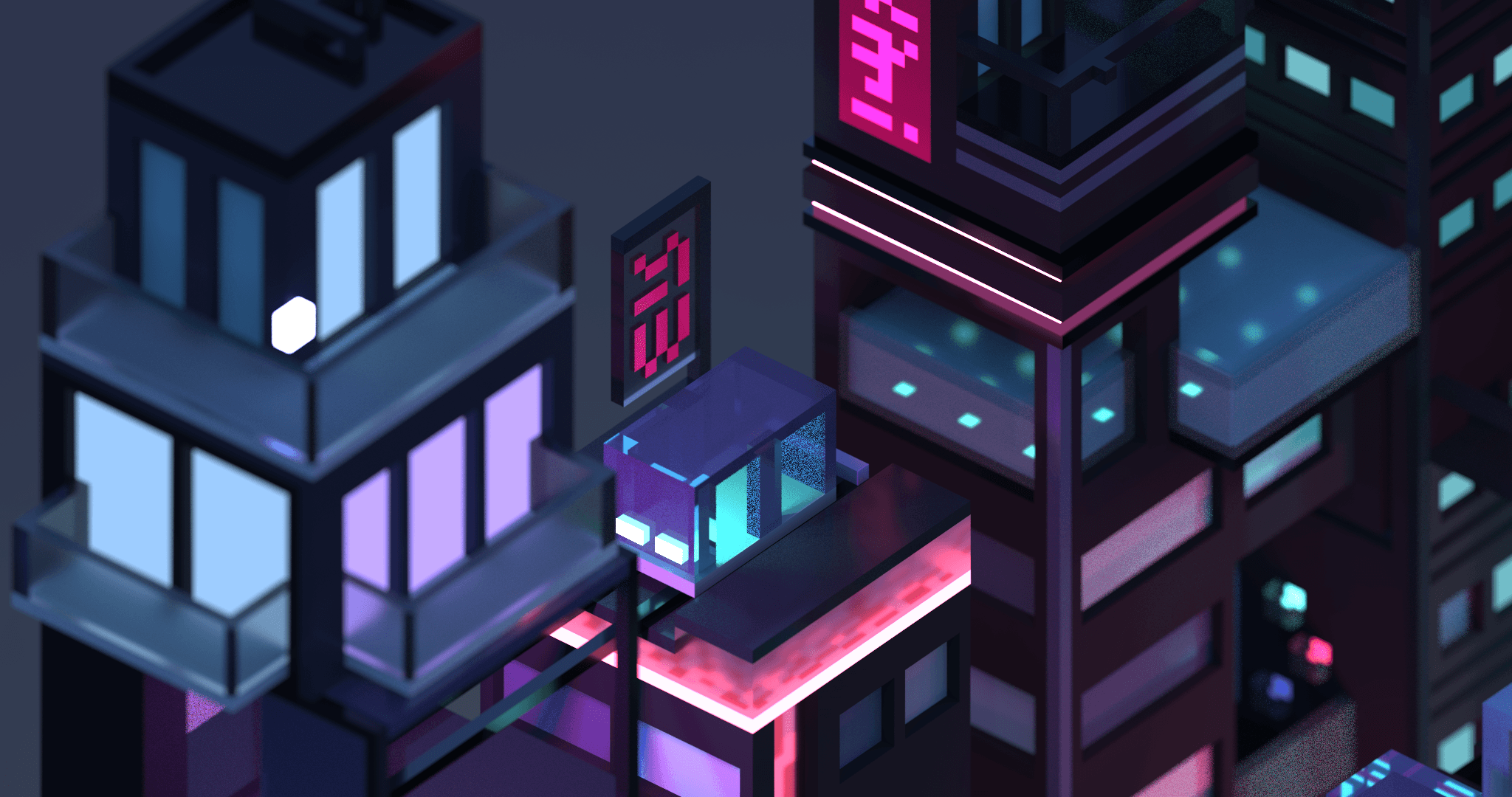 3D isometric city by night by Meg Wehrlen showing a square based city of high rise building with a synthwave/vapowave feel. Software is MagicaVoxel, 3d illustration. This shot includes a highrise vue, a glass elevator, glass sky train, a roof top, trees and building details.