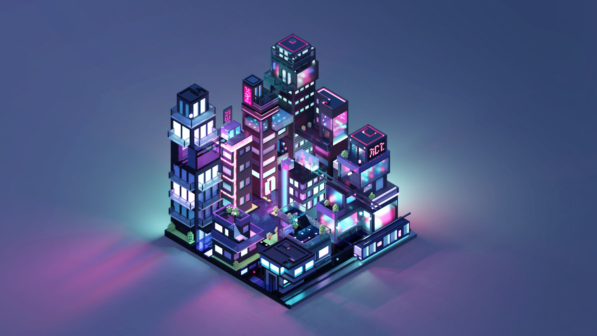 3D isometric city by night by Meg Wehrlen showing a square based city of high rise building with a synthwave/vapowave feel.
