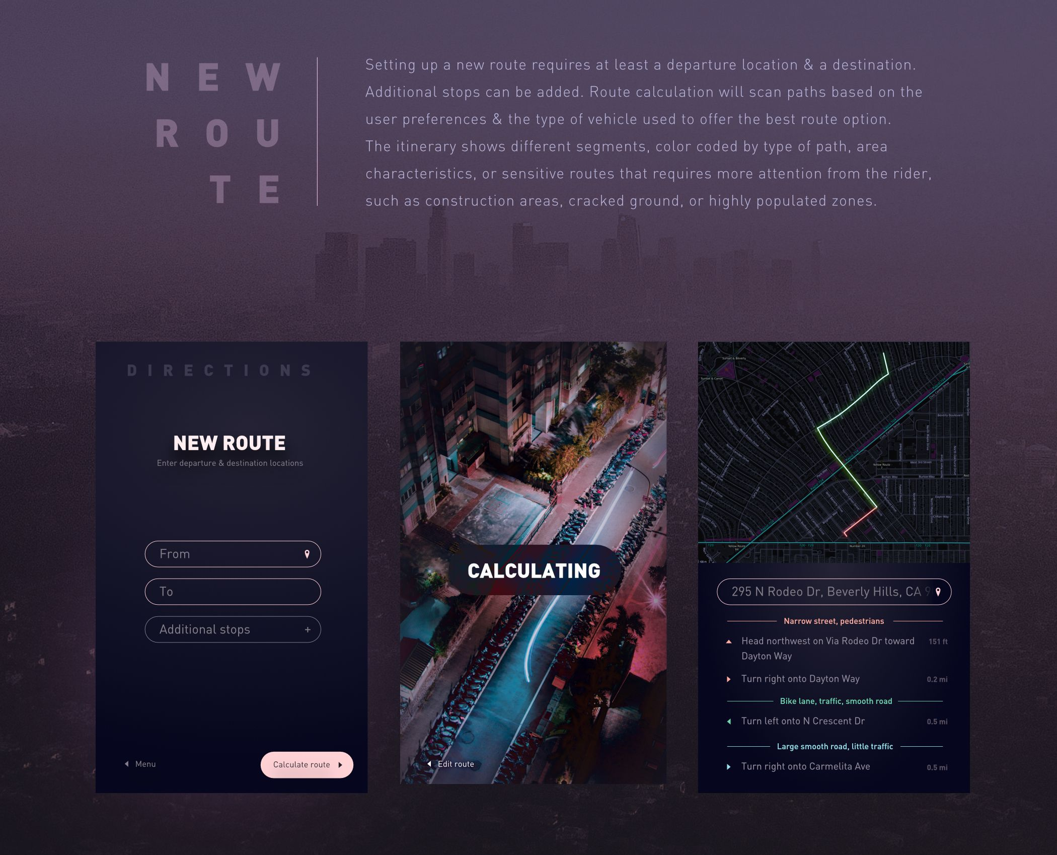 Ride Mapper is a concept app enabling users to get a custom route adapted to their vehicle requirements and preferences. This is a collaborative concept by Meg Wehrlen, facilitating the use of electric skateboards, scooters, on wheels, rollerblades and other tools, accessories or devices