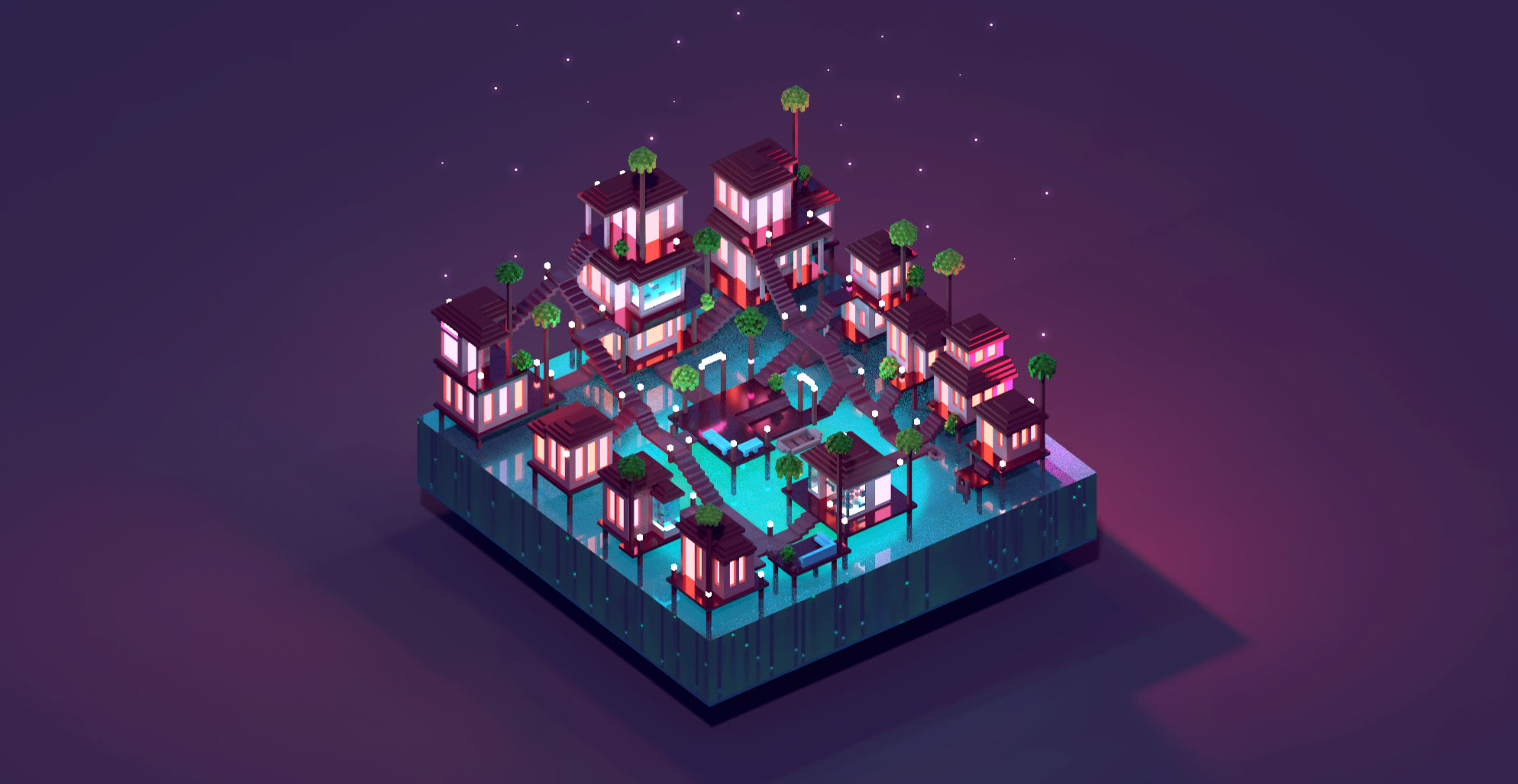 Tiki Town, project by Meg Wehrlen on MagicaVoxel showing animaginary and magical city on a square base, made of bungalows over water. The setting is tropical, by night, includes a lot of stairs, a boat service, multiple houes and palm trees. Voxel art, illustration, game design
