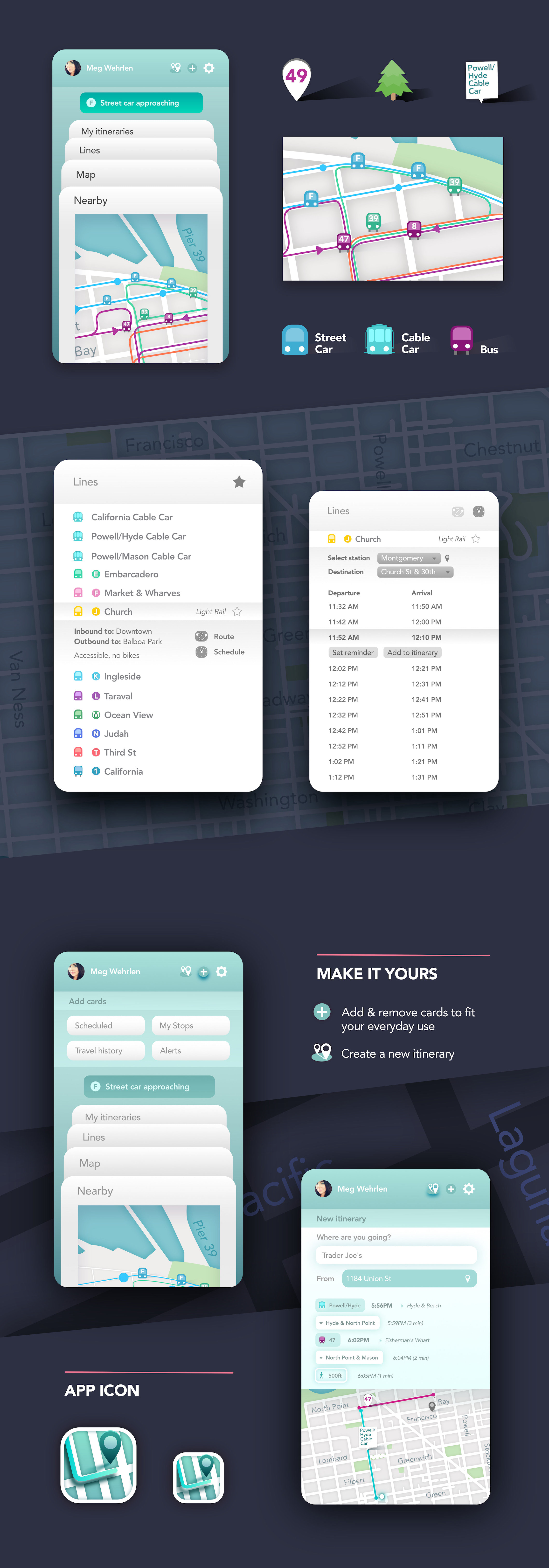 San Francisco transportation map design by Meg Wehrlen | UIUX, App Design