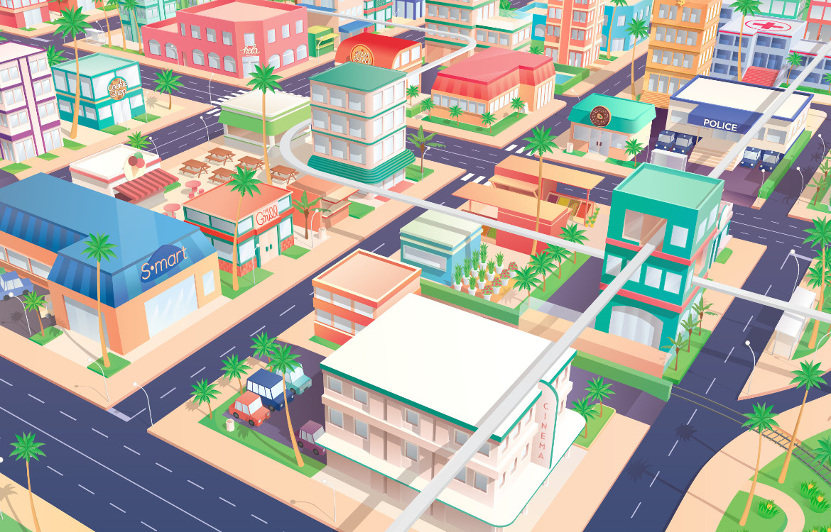 Vector cities illustration including shops, buildings, residential and commercial, with a tropical vibe, 3D perspective | By Meg Wehrlen
